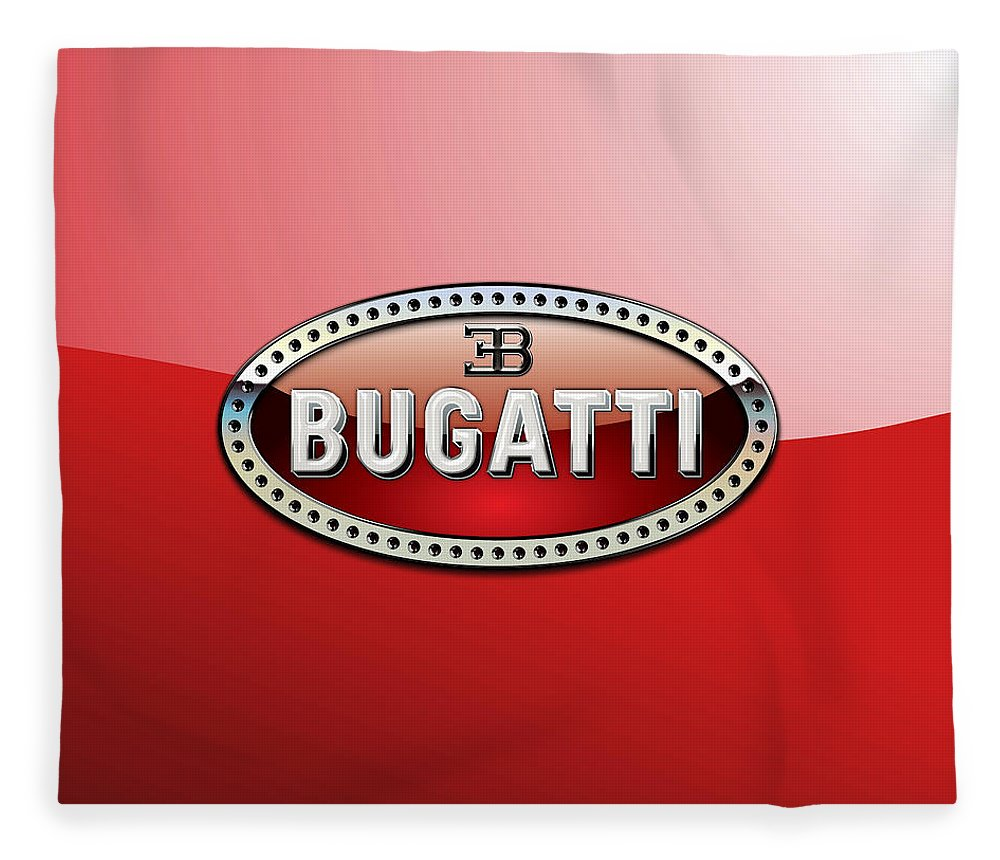 �wheels Of Fortune� Collection By Serge Averbukh Fleece Blanket featuring the photograph Bugatti - 3 D Badge on Red by Serge Averbukh