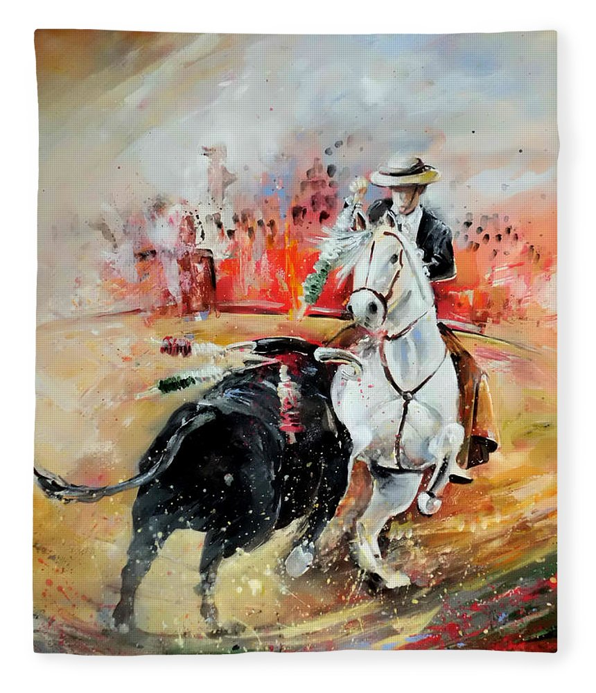 Toros Fleece Blanket featuring the painting Bullfight 3 by Miki De Goodaboom