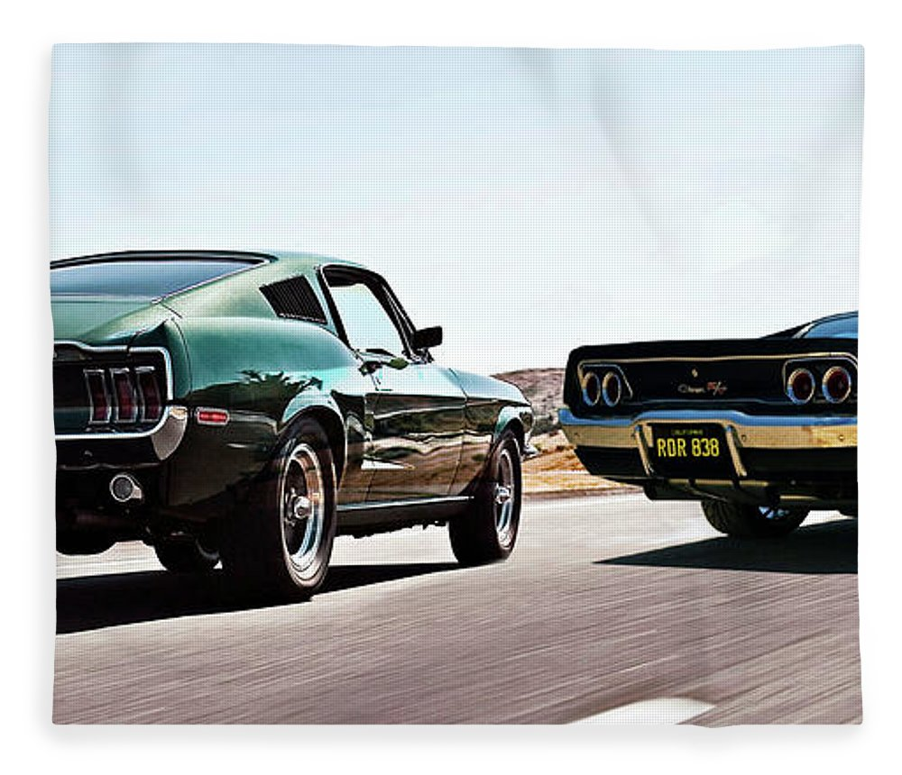 Bullitt Car Chase Scene 1968 Ford Mustang Gt And Dodge Charger R T 1964 Fleece Blanket Featuring The Mixed Media