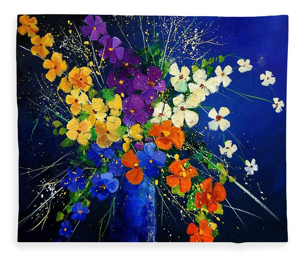 Poppies Fleece Blanket featuring the print Bunch 0408 by Pol Ledent