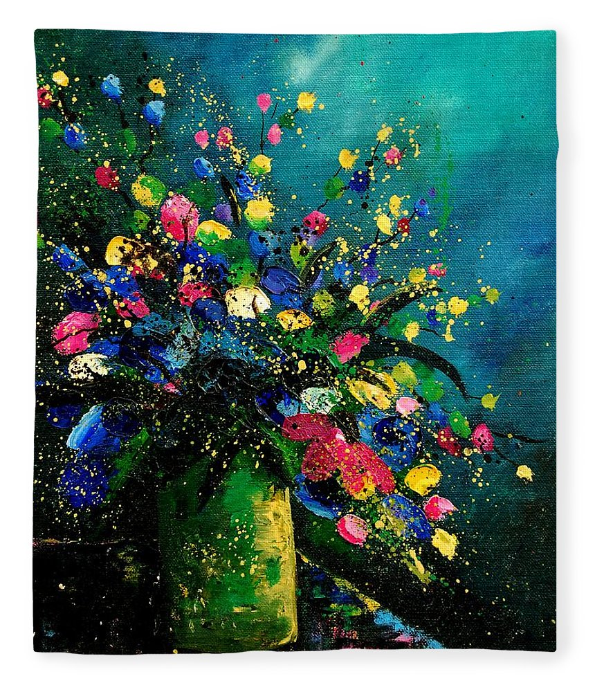 Flowers Fleece Blanket featuring the painting Bunch 0807 by Pol Ledent
