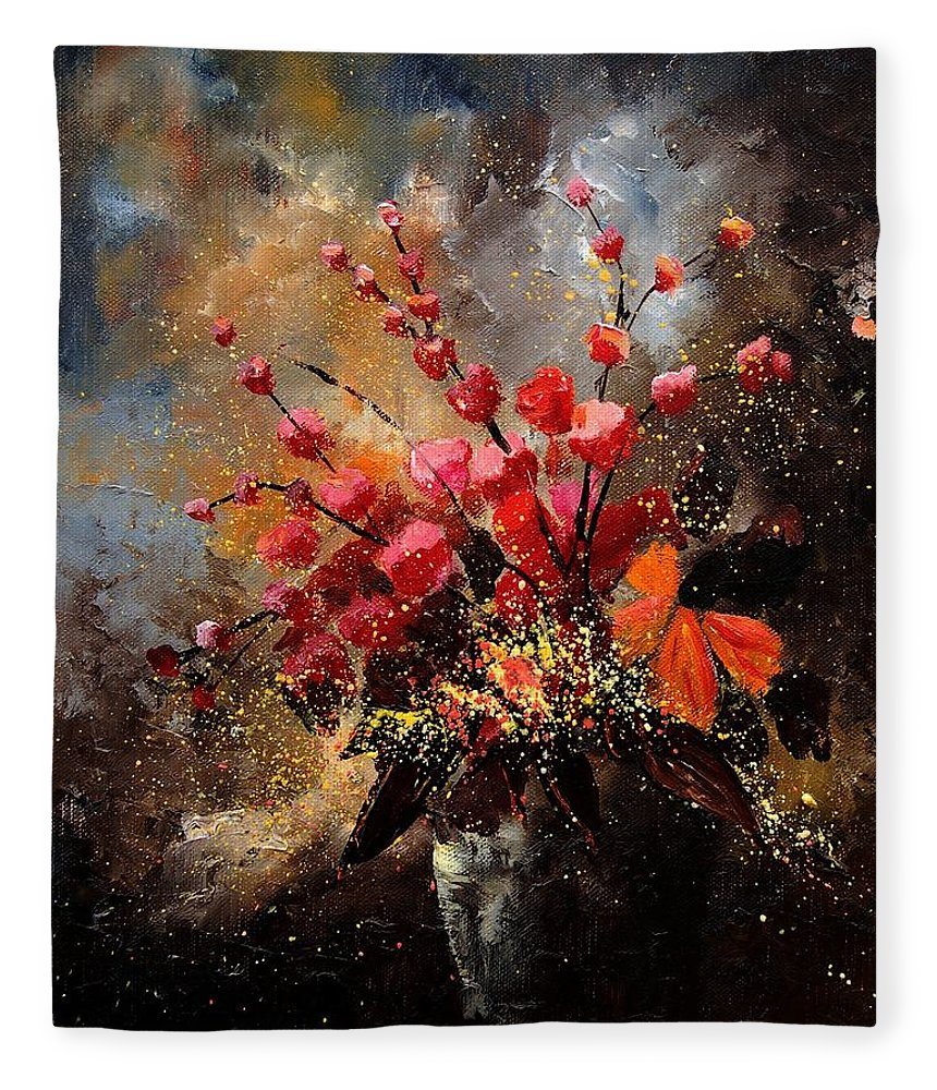 Poppies Fleece Blanket featuring the painting Bunch 1207 by Pol Ledent