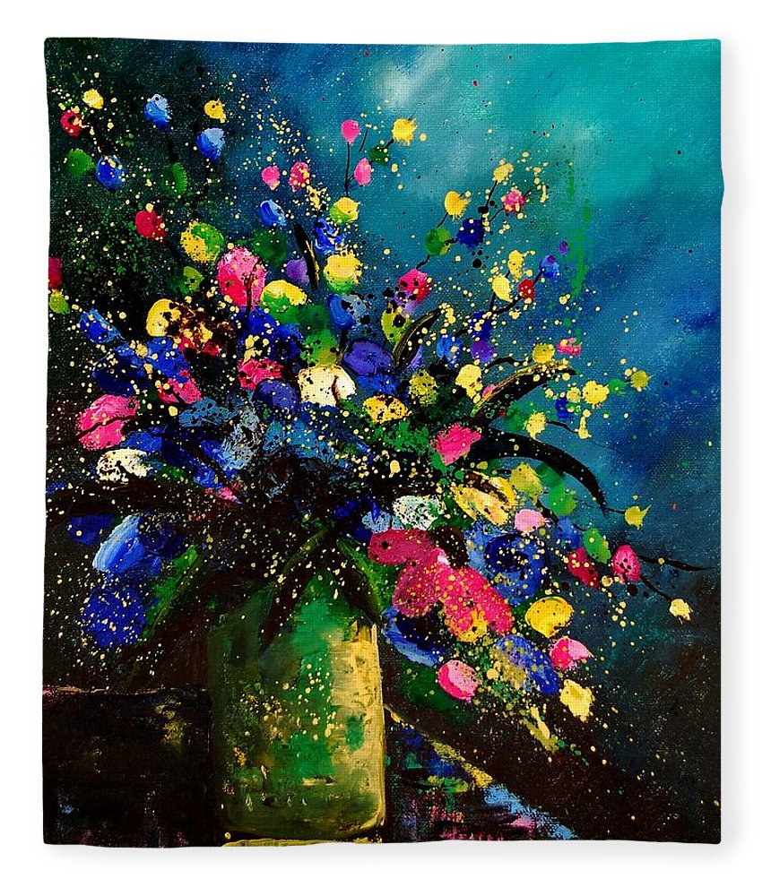 Poppies Fleece Blanket featuring the painting Bunch 45 by Pol Ledent