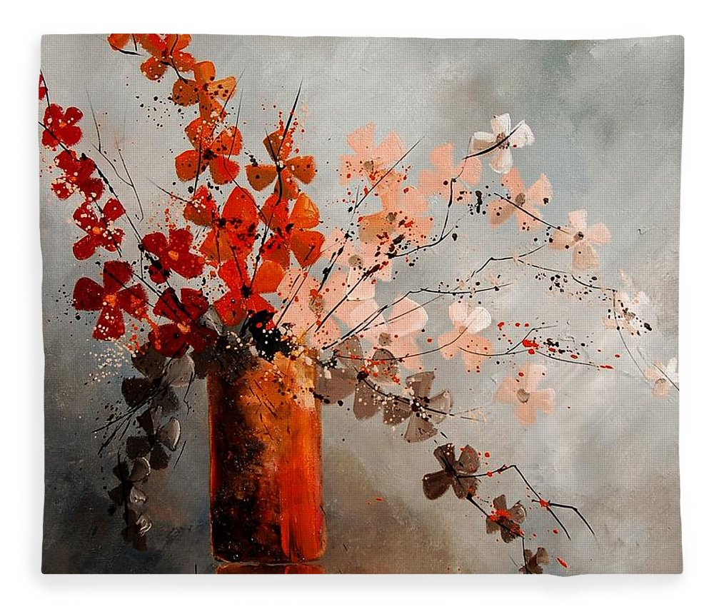 Flowers Fleece Blanket featuring the painting Bunch 670908 by Pol Ledent