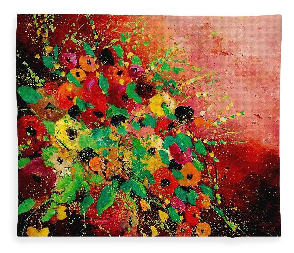 Flowers Fleece Blanket featuring the painting Bunch of flowers 0507 by Pol Ledent