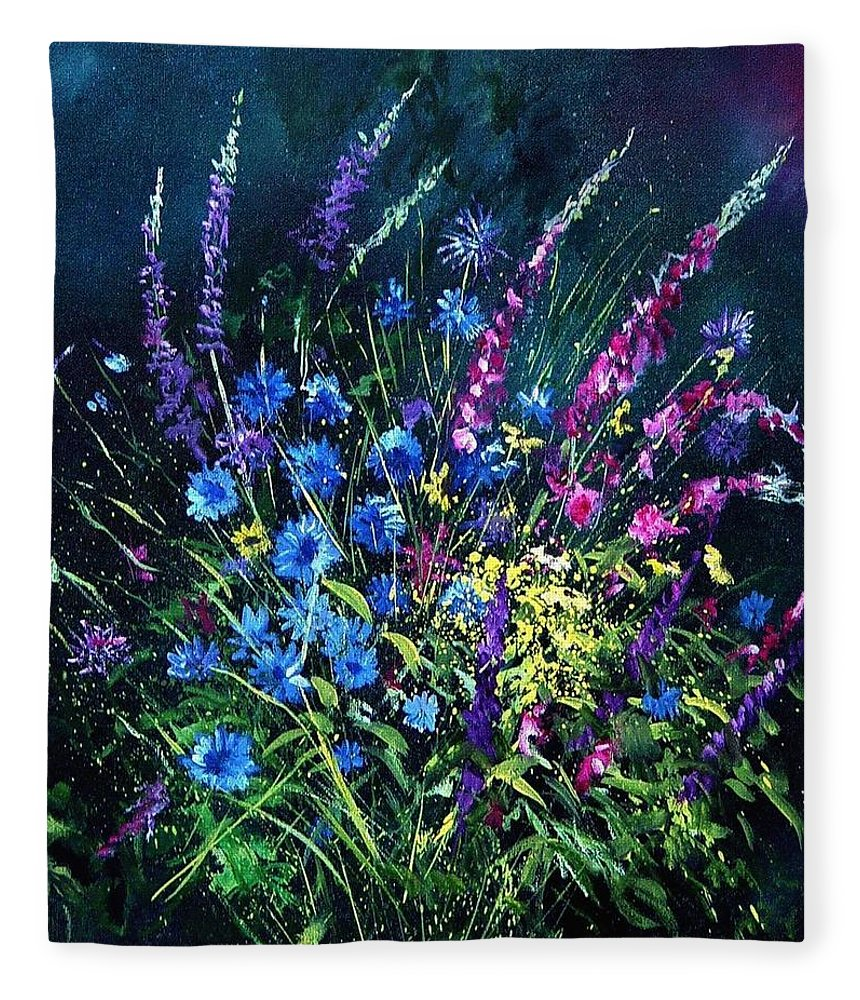 Poppies Fleece Blanket featuring the painting Bunch Of Wild Flowers by Pol Ledent