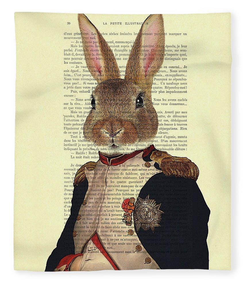 Bunny Fleece Blanket featuring the digital art Bunny Portrait Illustration by Madame Memento