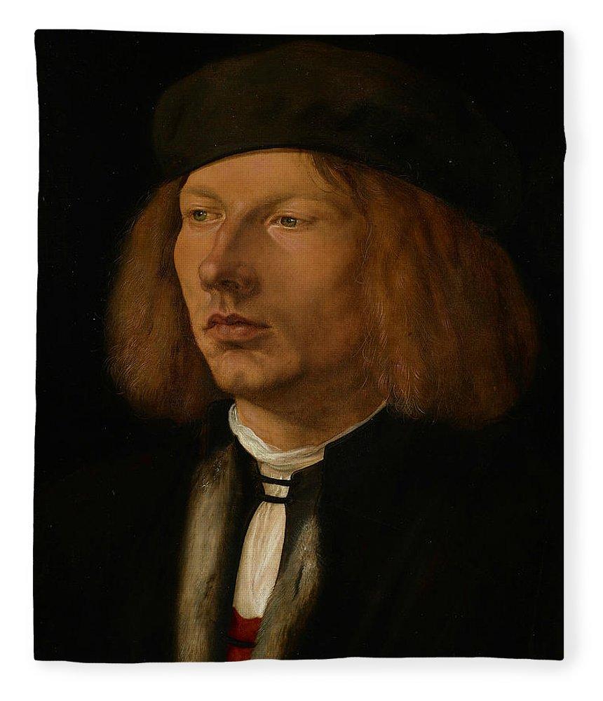 Albrecht Durer Fleece Blanket featuring the painting Burkhard Of Speyer by Albrecht Durer