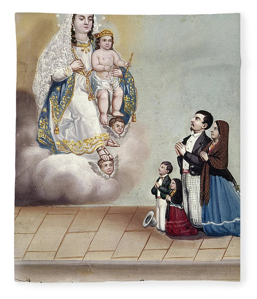 1879 Fleece Blanket featuring the photograph Bustos: Worship, 1879 by Granger