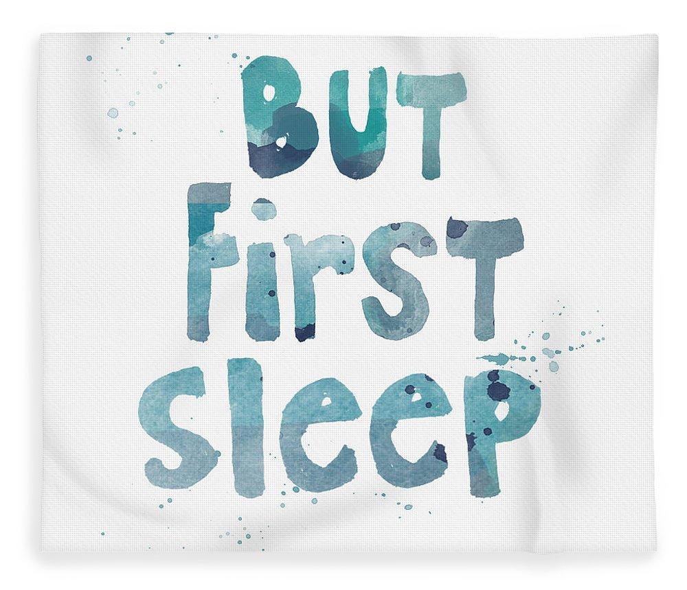 Sleep Fleece Blanket featuring the painting But First Sleep by Linda Woods