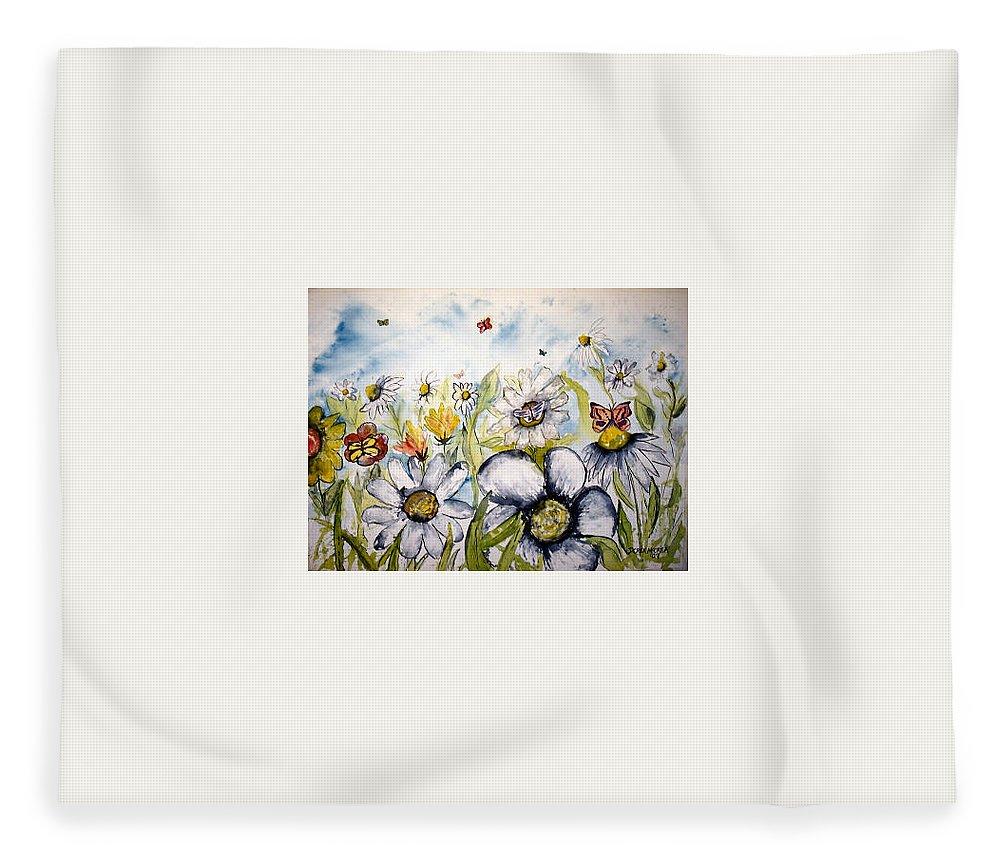 Butterfly Fleece Blanket featuring the painting Butterflies and Flowers by Derek Mccrea