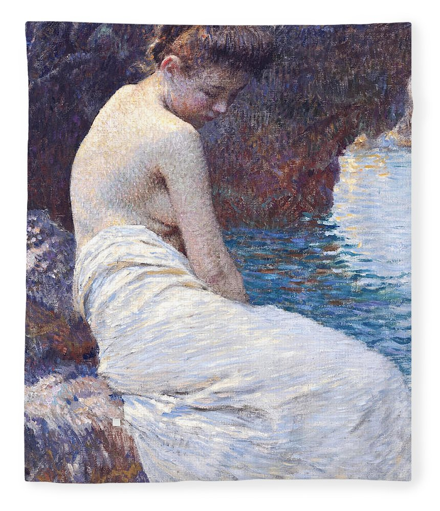 Vlaho Bukovac Fleece Blanket featuring the painting By the Sea by Vlaho Bukovac