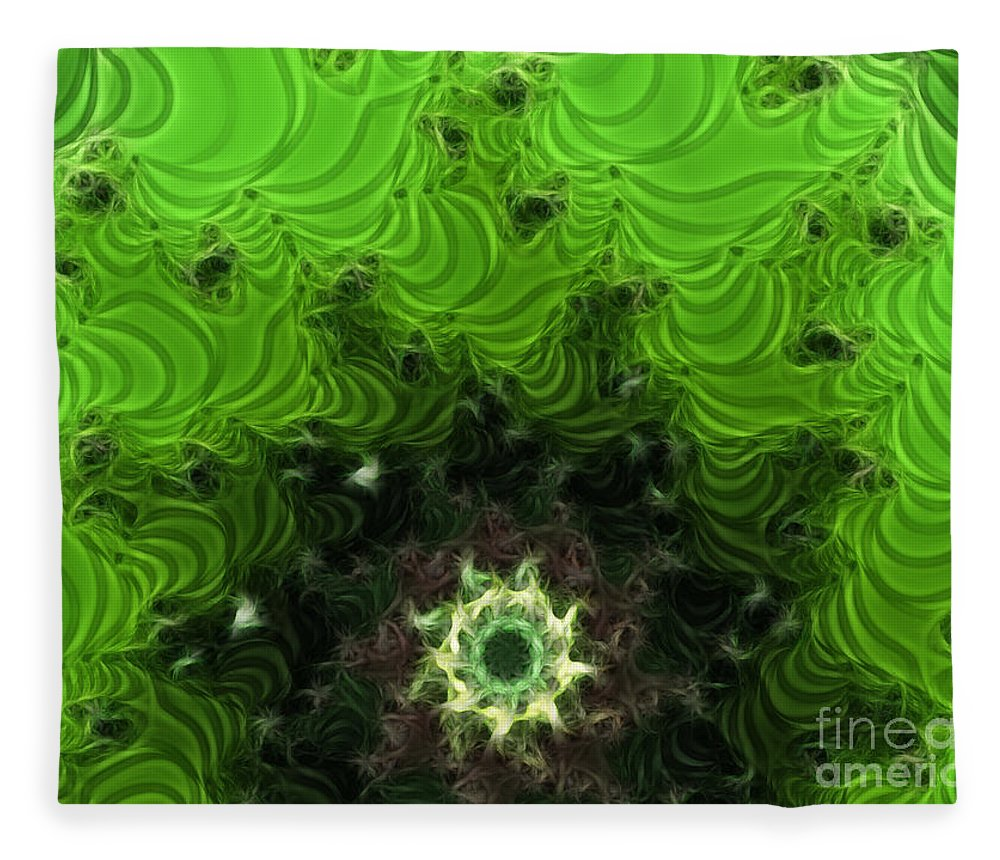 Cactus Abstract Fleece Blanket featuring the digital art Cactus Abstract by Methune Hively