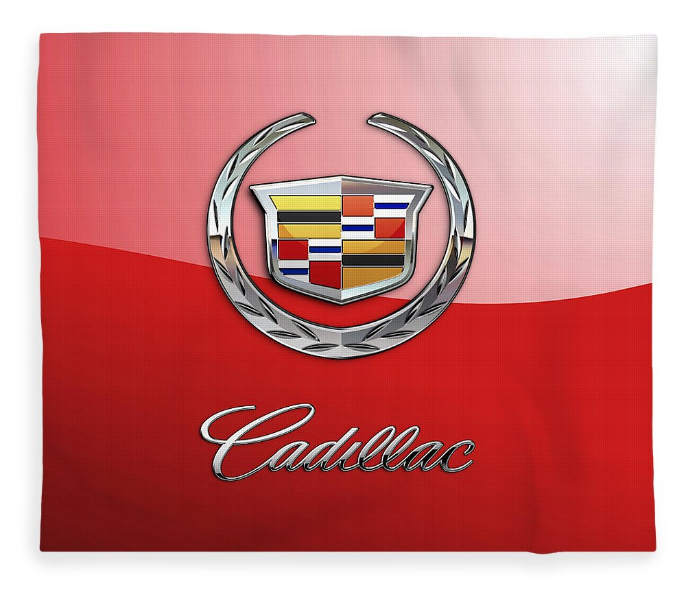 �wheels Of Fortune� Collection By Serge Averbukh Fleece Blanket featuring the photograph Cadillac - 3 D Badge on Red by Serge Averbukh