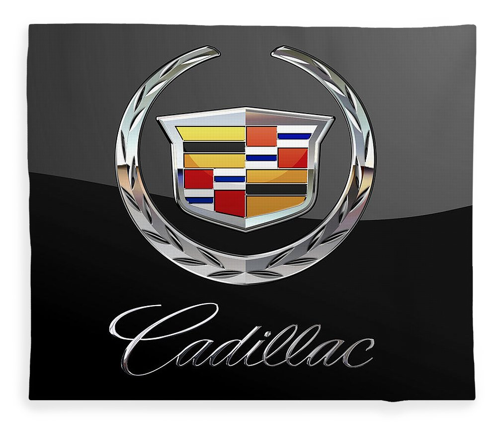 'wheels Of Fortune' By Serge Averbukh Fleece Blanket featuring the photograph Cadillac - 3 D Badge On Black by Serge Averbukh