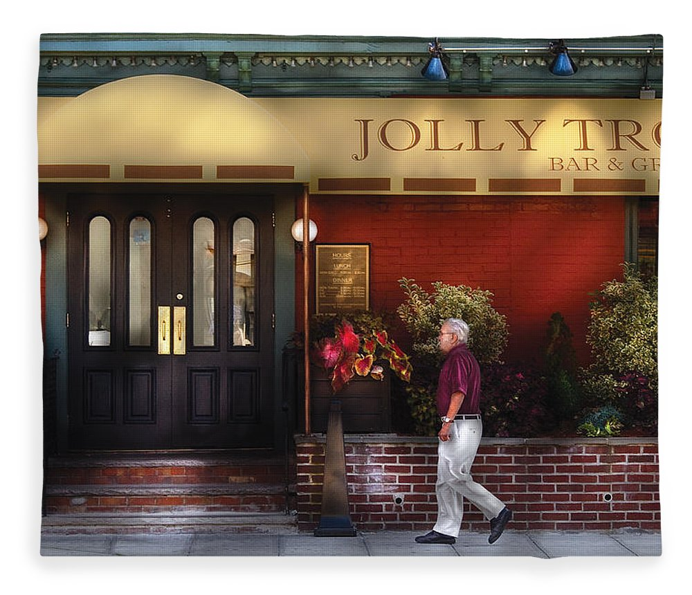 Savad Fleece Blanket featuring the photograph Cafe - Jolly Trolley by Mike Savad