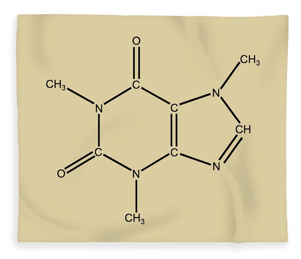 Caffeine Fleece Blanket featuring the digital art Caffeine Molecular Structure Vintage by Nikki Marie Smith