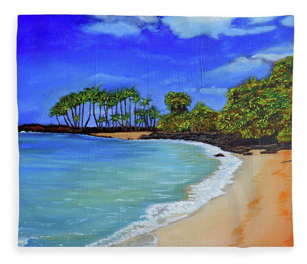Coastal Landscape Fleece Blanket featuring the painting Calm - Coastal Landscape by Thu Nguyen