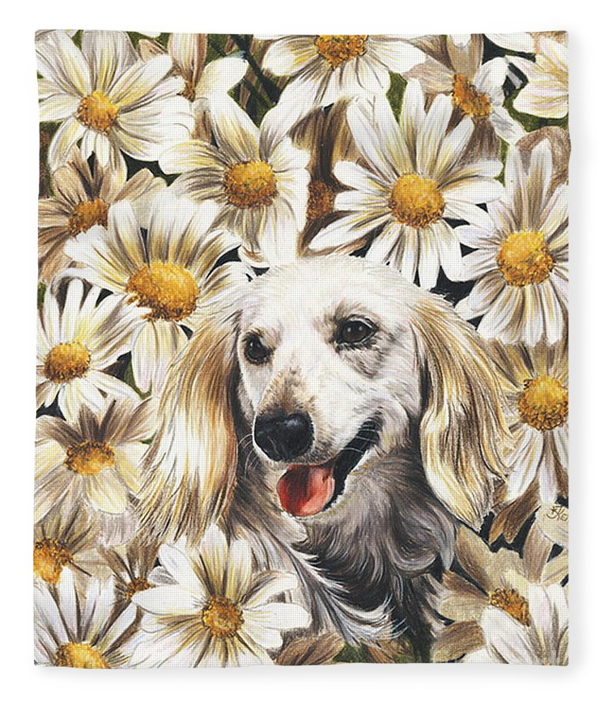 Dachshund Fleece Blanket featuring the drawing Camoflaged by Barbara Keith