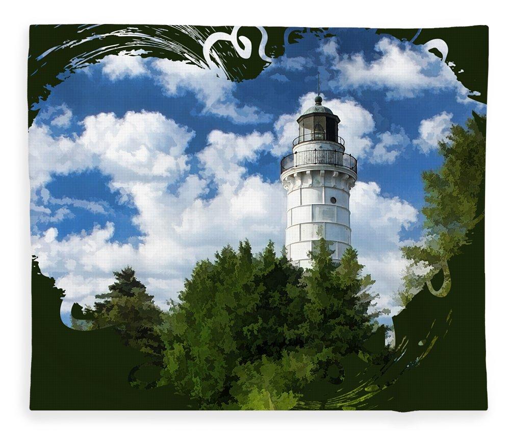 Cana Island Lighthouse Fleece Blanket featuring the painting Cana Island Lighthouse Cloudscape In Door County by Christopher Arndt