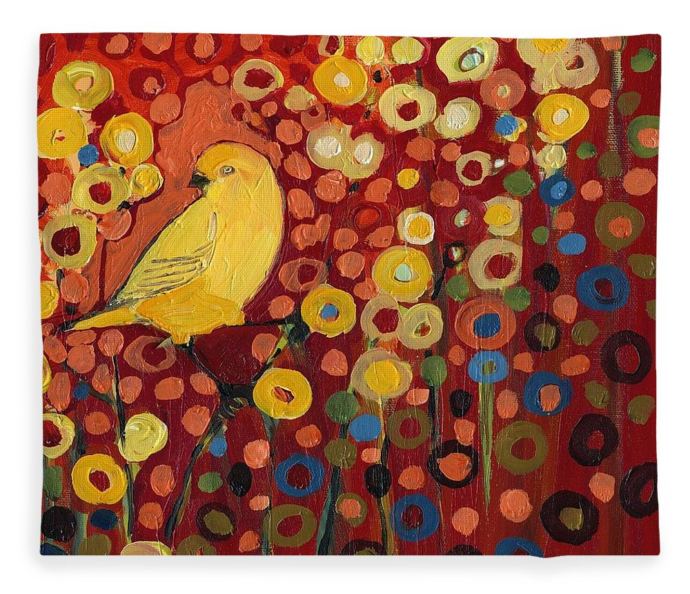 Canary Fleece Blanket featuring the painting Canary in Red by Jennifer Lommers