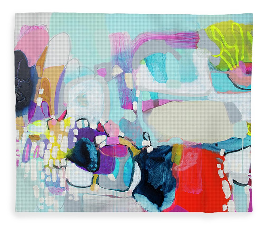 Abstract Fleece Blanket featuring the painting Can't Wait by Claire Desjardins