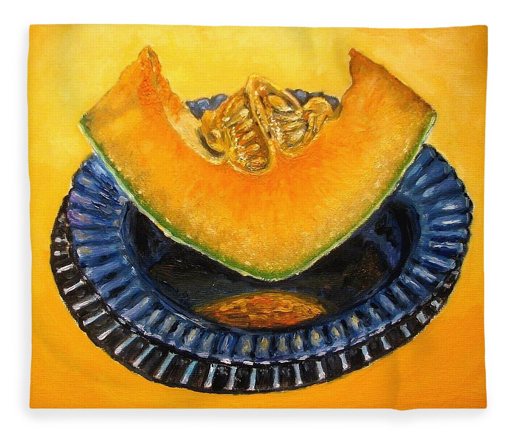Cantaloupe Fleece Blanket featuring the painting Cantaloupe Oil Painting by Natalja Picugina