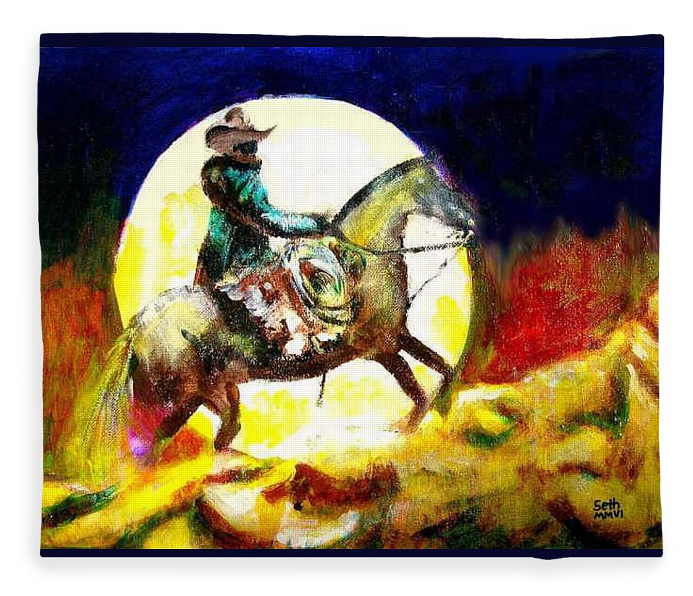 Canyon Moon Fleece Blanket featuring the painting Canyon Moon by Seth Weaver
