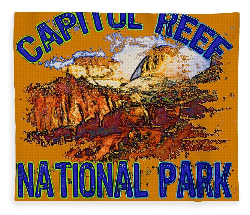 Capitol Reef National Park Fleece Blanket featuring the digital art Capitol Reef National Park Utah by David G Paul