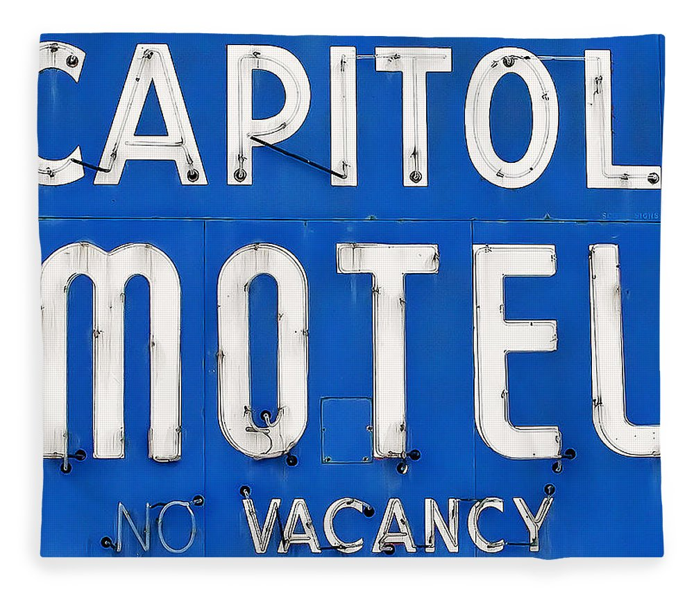 Capitol Motel Fleece Blanket featuring the photograph Capitol Sign by Todd Klassy