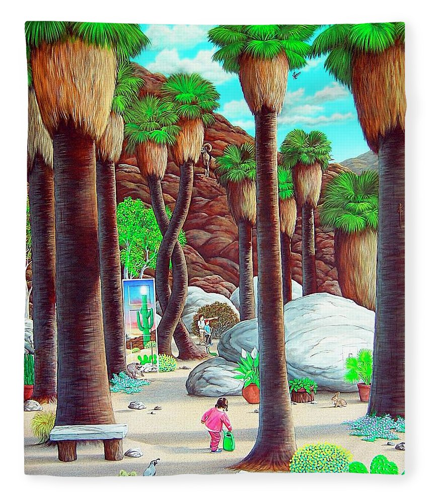 Canyon Fleece Blanket featuring the painting Caretaker by Snake Jagger