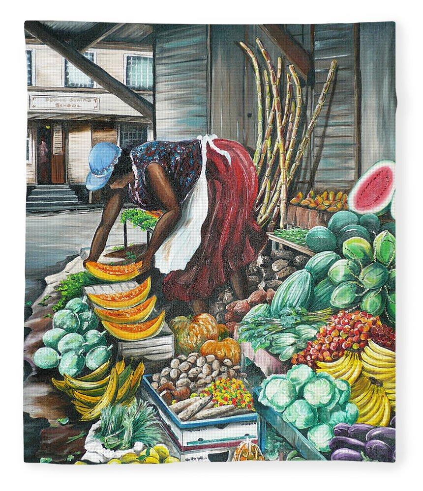Caribbean Painting Market Vendor Painting Caribbean Market Painting Fruit Painting Vegetable Painting Woman Painting Tropical Painting City Scape Trinidad And Tobago Painting Typical Roadside Market Vendor In Trinidad Fleece Blanket featuring the painting Caribbean Market Day by Karin Dawn Kelshall- Best