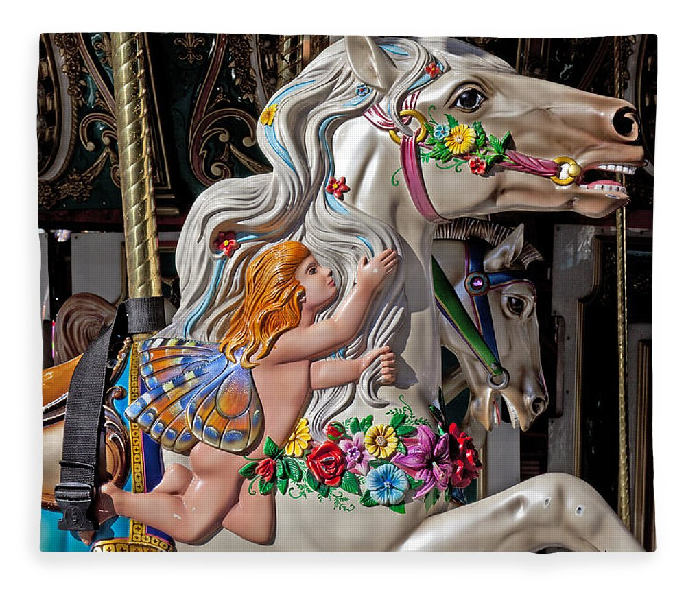 Carousel Fleece Blanket featuring the photograph Carousel Horse And Angel by Garry Gay