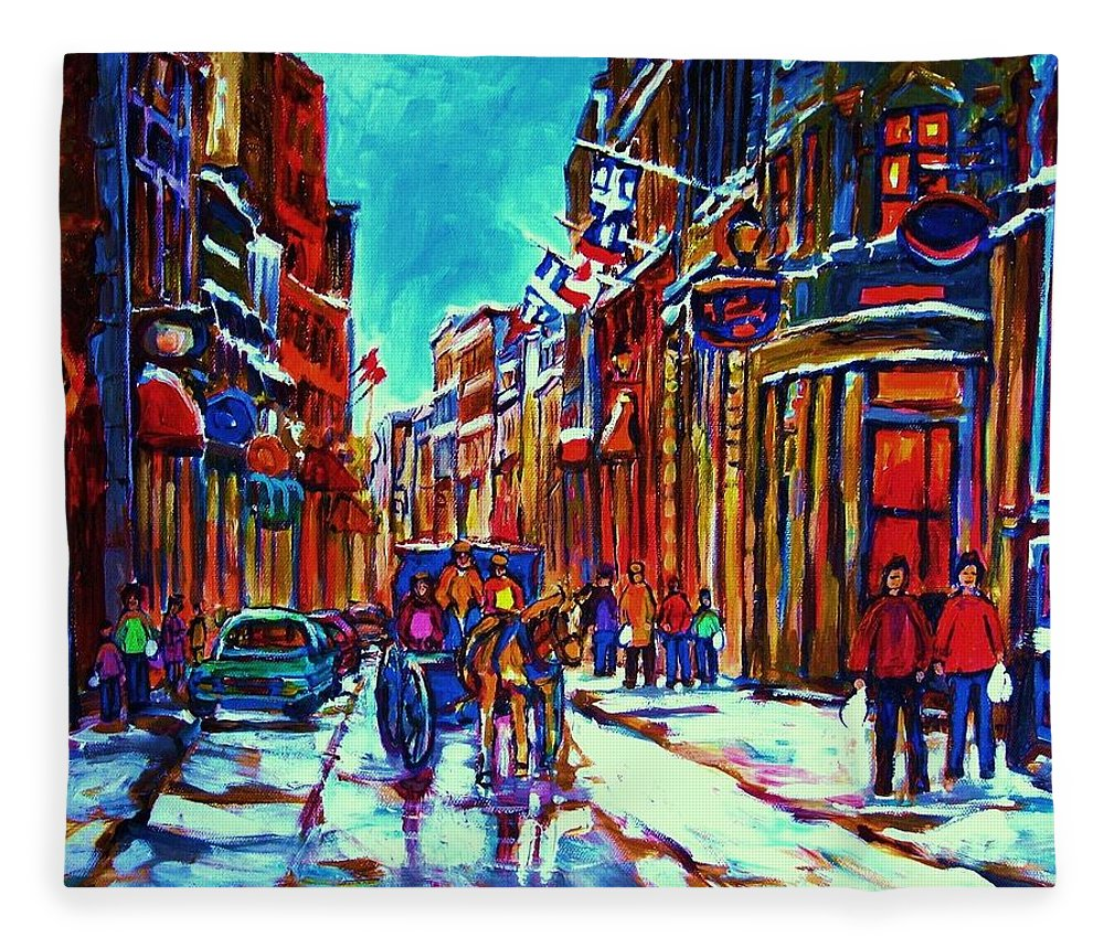 Old Montreal Fleece Blanket featuring the painting Carriage Ride Through The Old City by Carole Spandau