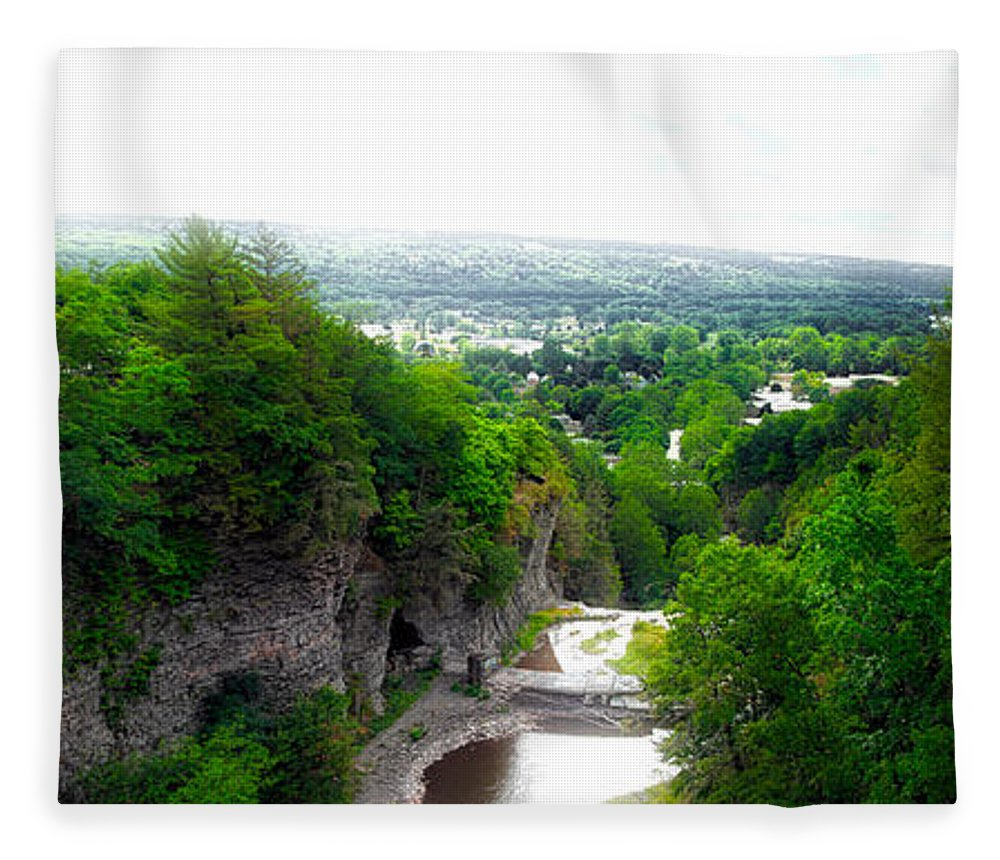 Cornell University Fleece Blanket featuring the photograph Cascadilla Gorge Cornell University Ithaca New York Panorama by Thomas Woolworth