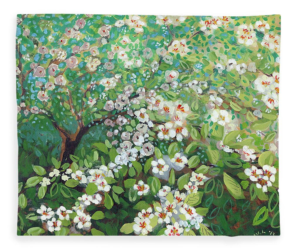 Landscape Fleece Blanket featuring the painting Cascading by Jennifer Lommers