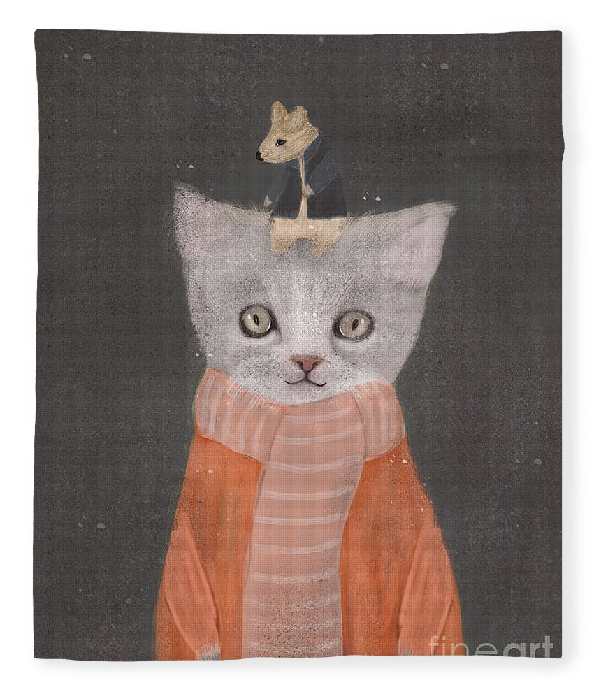 Cat Fleece Blanket featuring the painting Cat And Mouse by Bri Buckley
