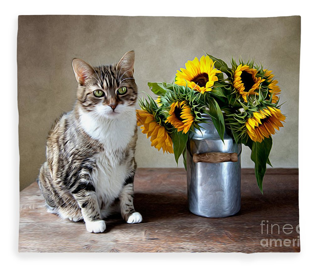 Cat Fleece Blanket featuring the painting Cat and Sunflowers by Nailia Schwarz