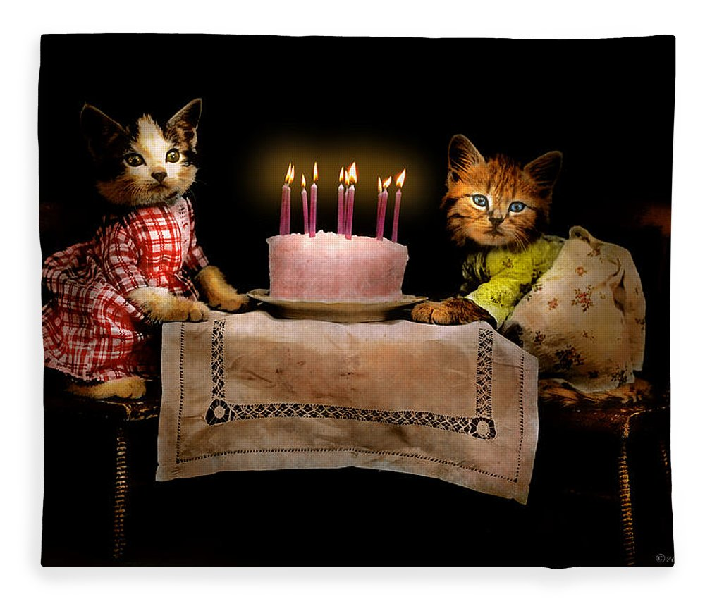 Cat Fleece Blanket featuring the photograph Cat - It's Our Birthday - 1914 by Mike Savad