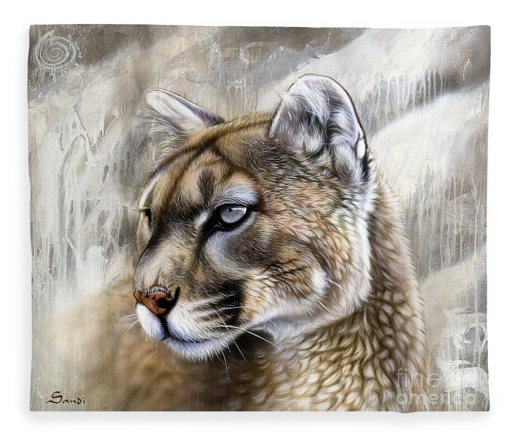 Acrylic Fleece Blanket featuring the painting Catamount by Sandi Baker