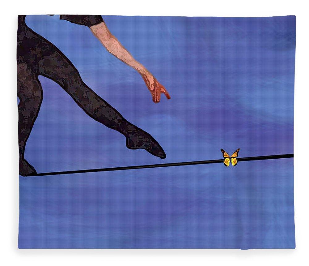 Surreal Fleece Blanket featuring the painting Catching Butterflies by Steve Karol