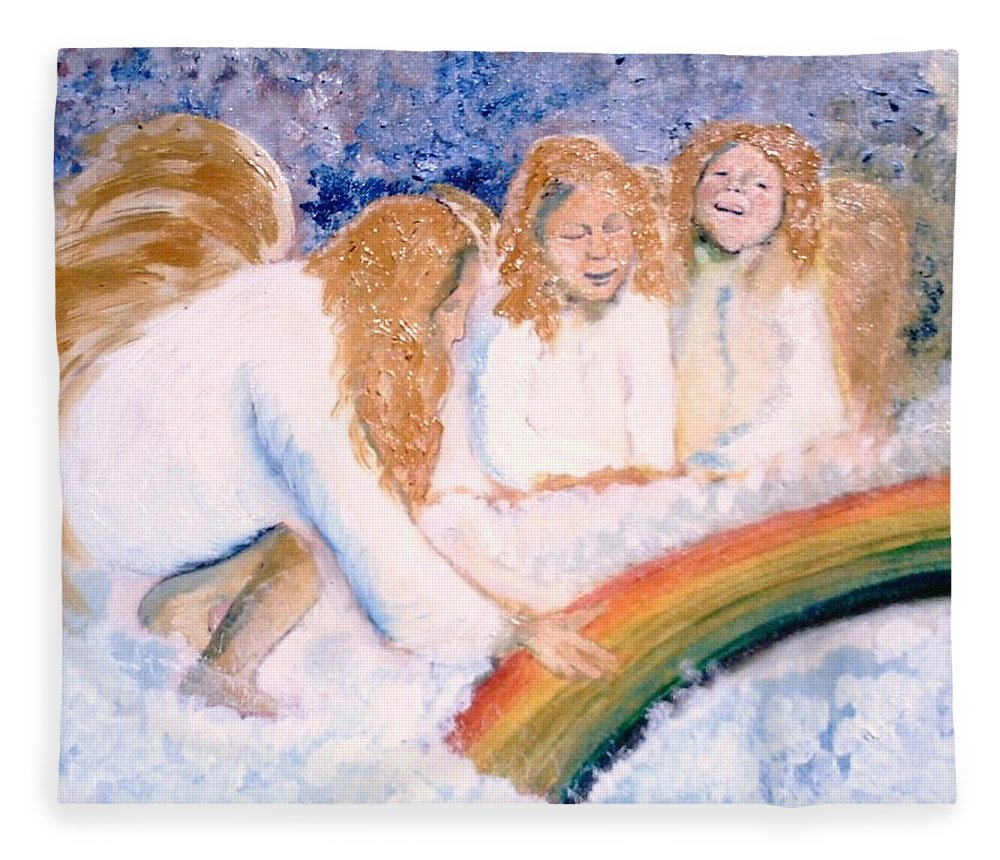 Rainbow Fleece Blanket featuring the painting Catching Rainbows by J Bauer