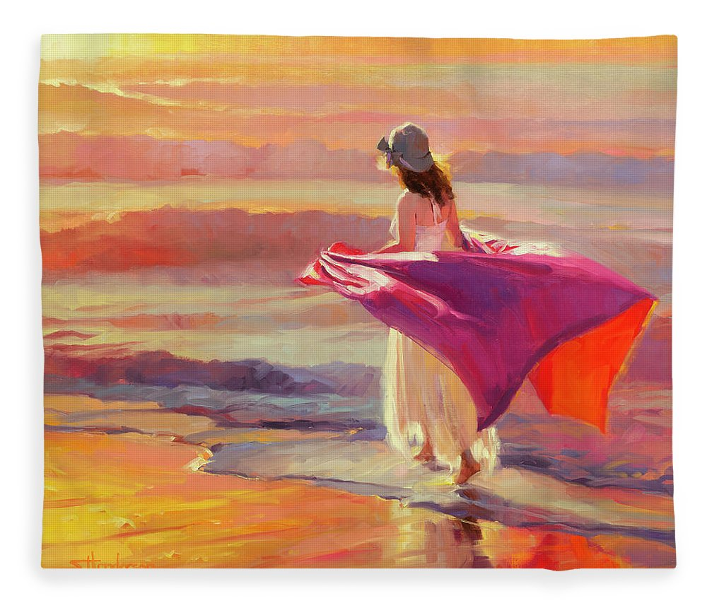 Coast Fleece Blanket featuring the painting Catching the Breeze by Steve Henderson