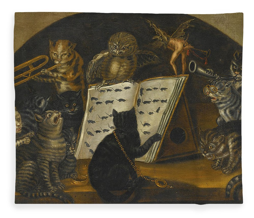 Cats Being Instructed In The Art Of Mouse Catching By An Owl Fleece Blanket For Sale By Lombard School