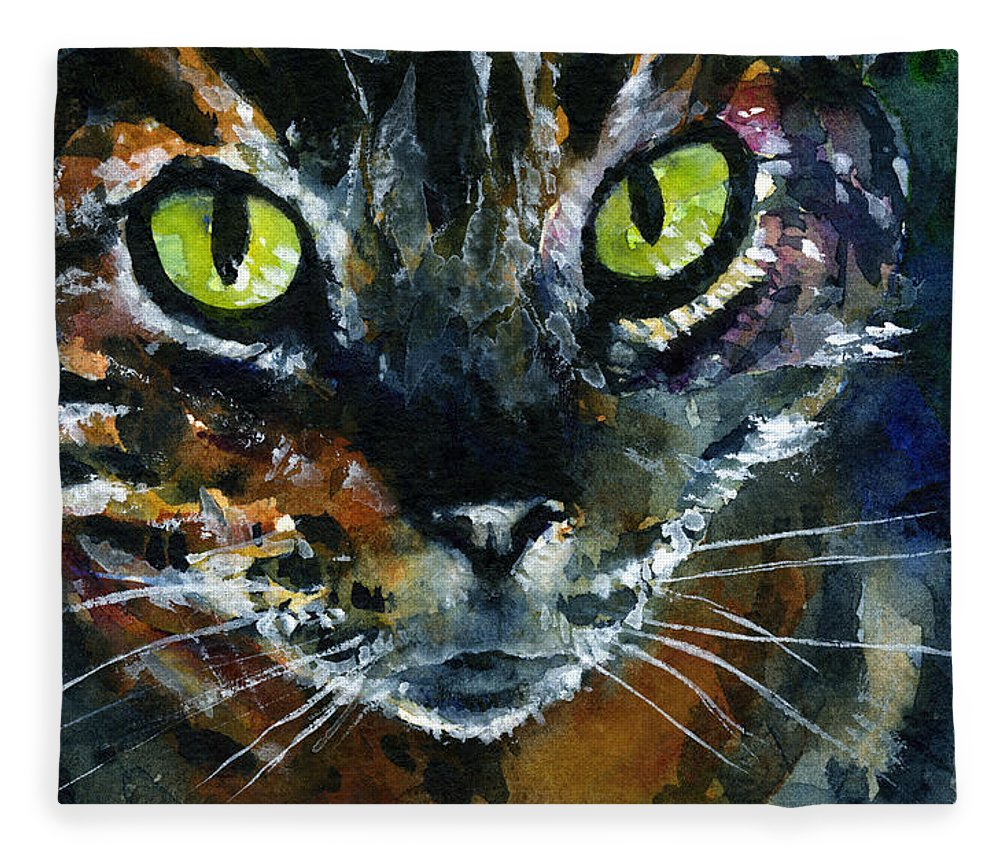 Eyes Fleece Blanket featuring the painting Cats Eyes 16 by John D Benson