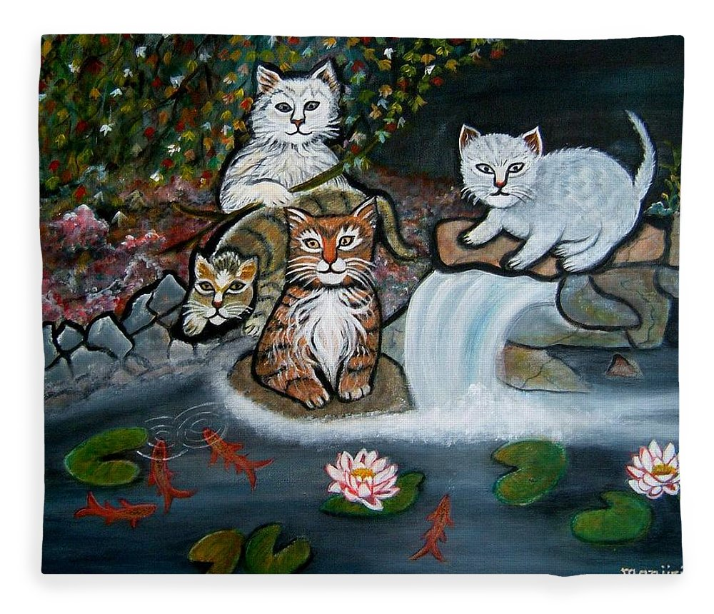 Acrylic Art Landscape Cats Animals Figurative Waterfall Fish Trees Fleece Blanket featuring the painting Cats In The Wild by Manjiri Kanvinde