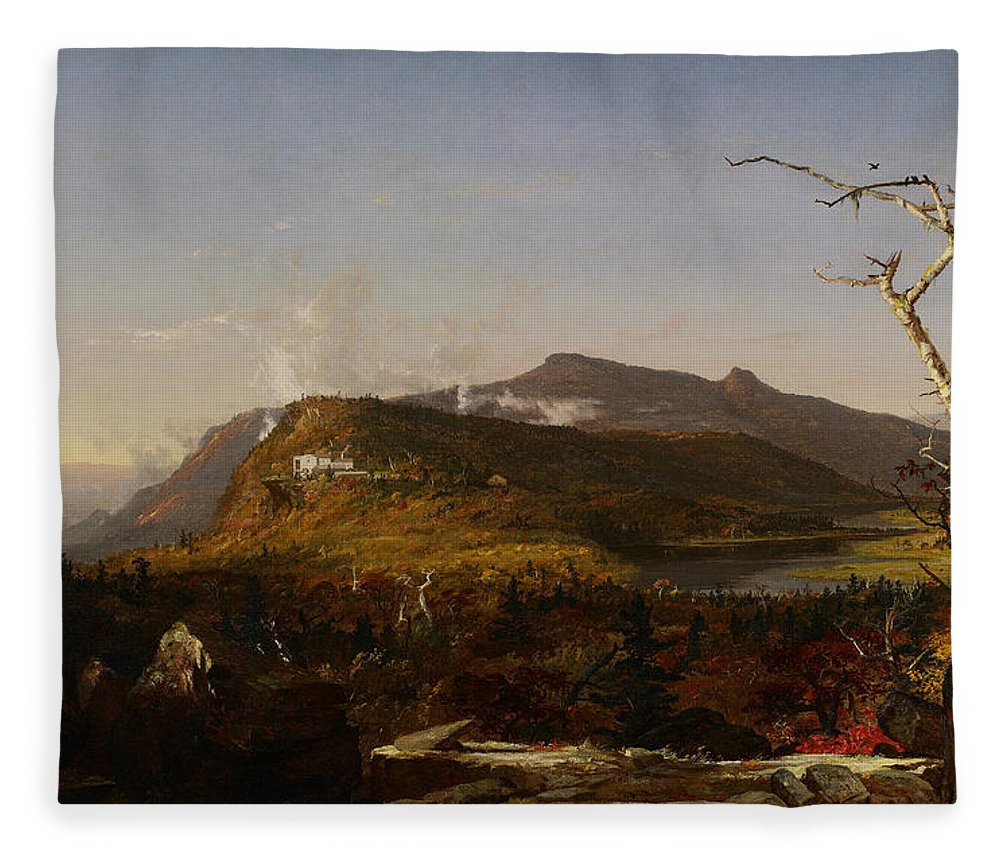 Jasper Francis Cropsey Fleece Blanket featuring the painting Catskill Mountain House by Jasper Francis Cropsey