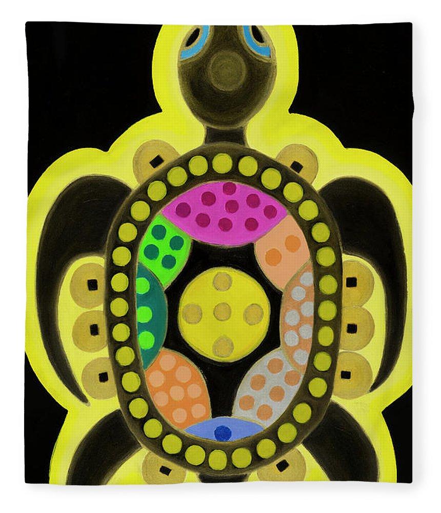 Celestial Black Turtle Fleece Blanket featuring the painting Celestial black turtle by Adamantini Feng shui