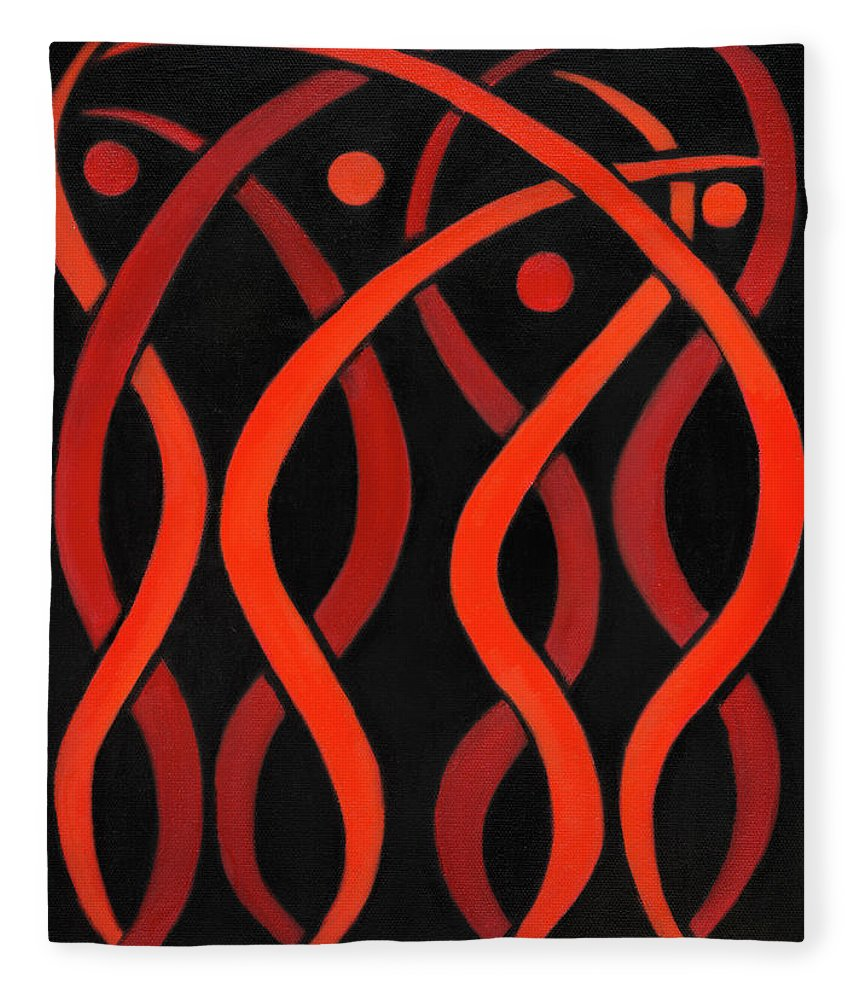 Celestial Flames Fleece Blanket featuring the painting Celestial Flames by Adamantini Feng shui