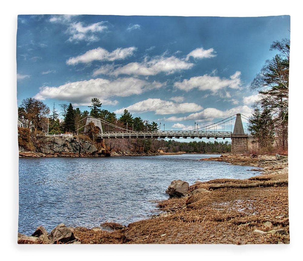 Newburyport Amesbury Massachusetts Chain Bridge Deer Island Merrimack River New England Spofford House Fleece Blanket featuring the photograph Chain Bridge On The Merrimack by Wayne Marshall Chase